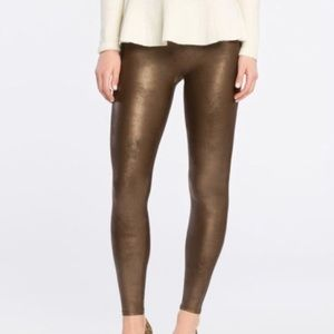 NWT Spanx Bronze Metal Faux Leather Leggings
